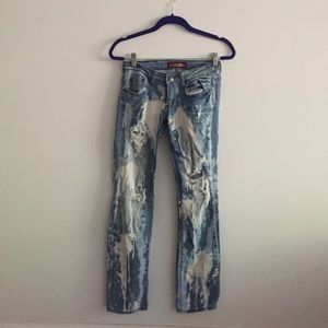 Distressed Blue & White Ripped Jeans Sz 28